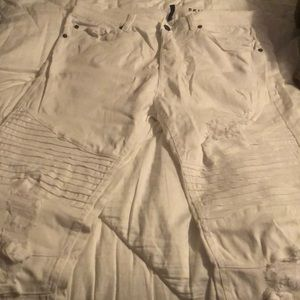 H&M white ripped jeans